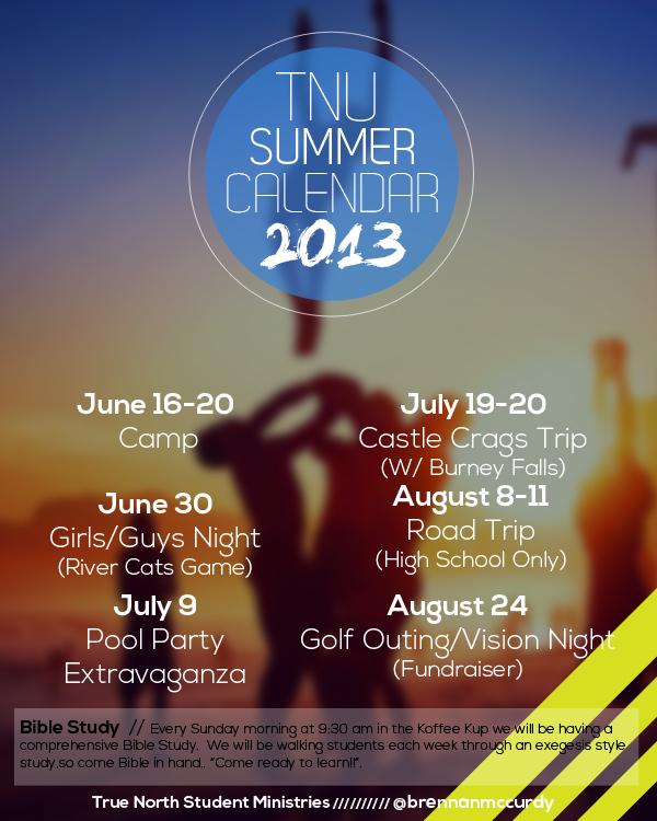 Summer Calendar 2013